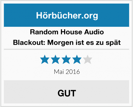 Random House Audio Blackout: Morgen ist es zu spät Test